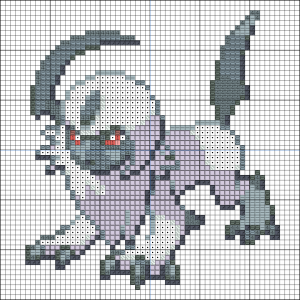 Absol cross stitch pattern